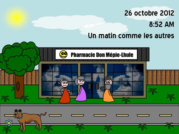 8:52 AM et les personnes âgées sont déjà prêtes à entrer dans la pharmacie!